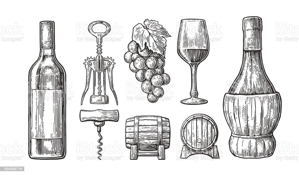 Wine set. Bottle, glass, corkscrew, barrel, bunch of grapes. vector art illustration