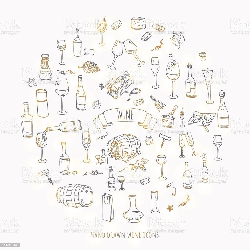 Wine set icons vector art illustration