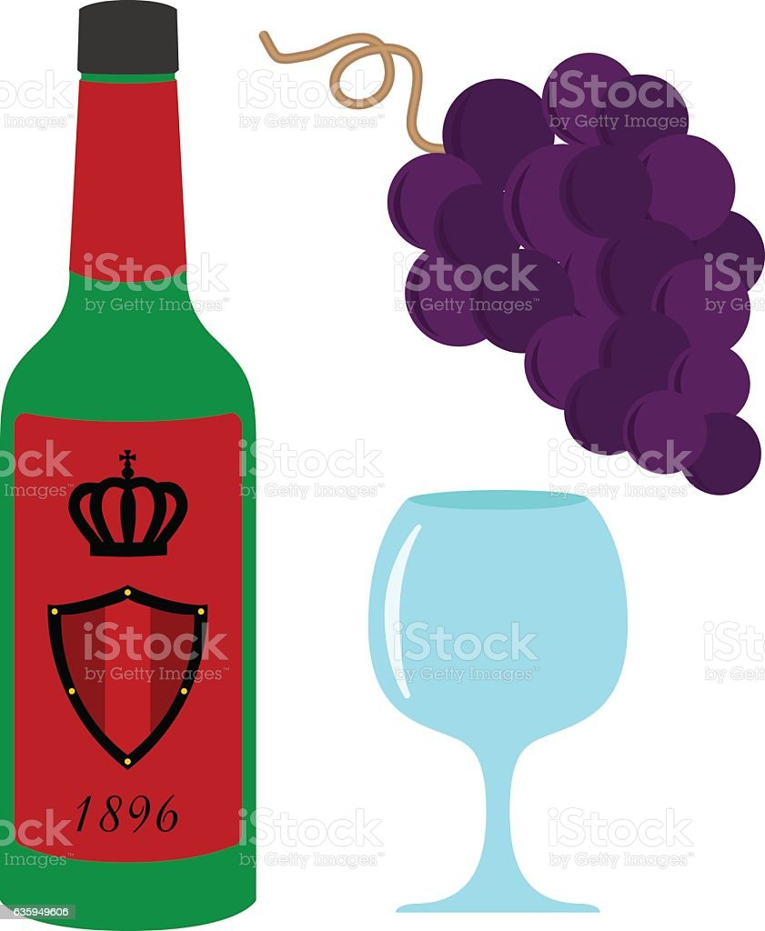 Wine set illustration. Bottle with royal wine, glass and grapes. Flat...