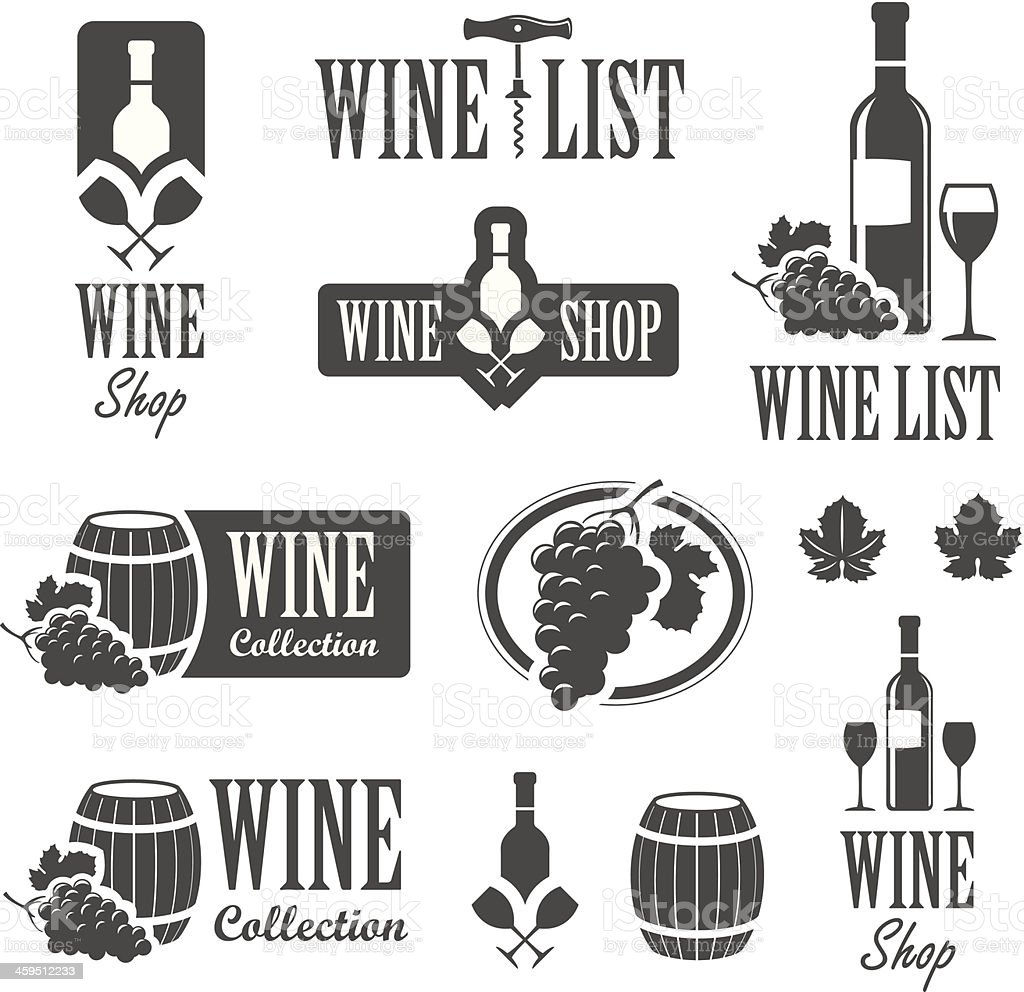 Wine signs vector art illustration
