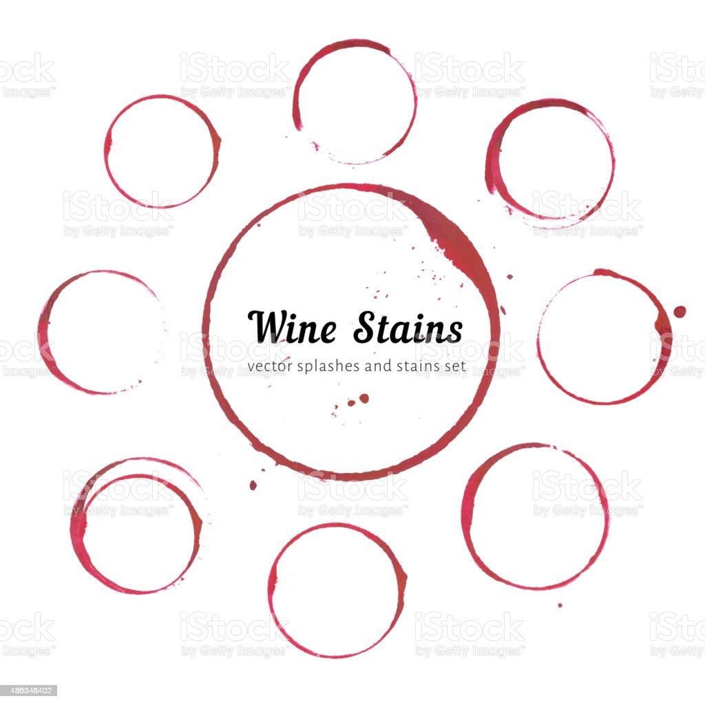 Wine stain circles vector art illustration