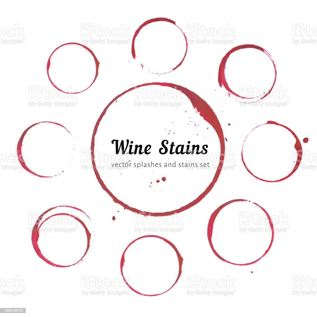 Wine stain circles vector art illustration
