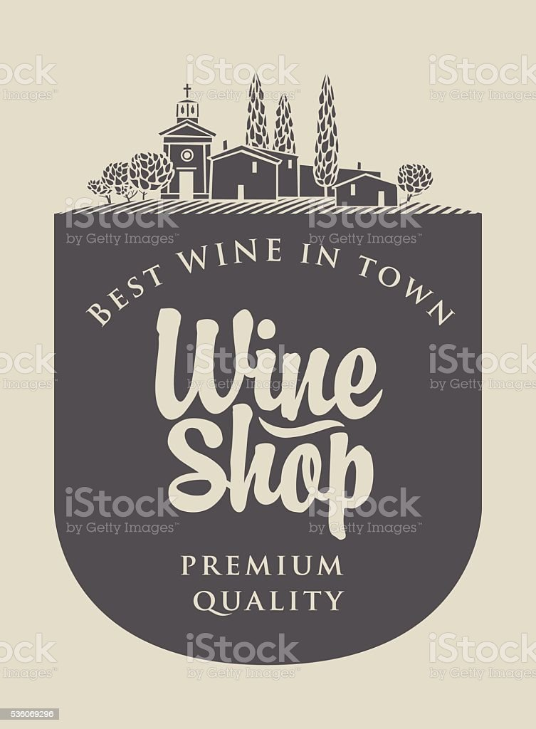 wine store with agriculture Italian landscape vector art illustration