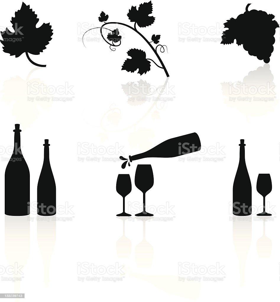 Wine Symbols vector art illustration