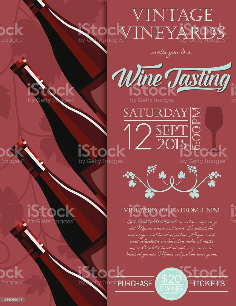 Wine tasting event invitation in Marsala vector art illustration