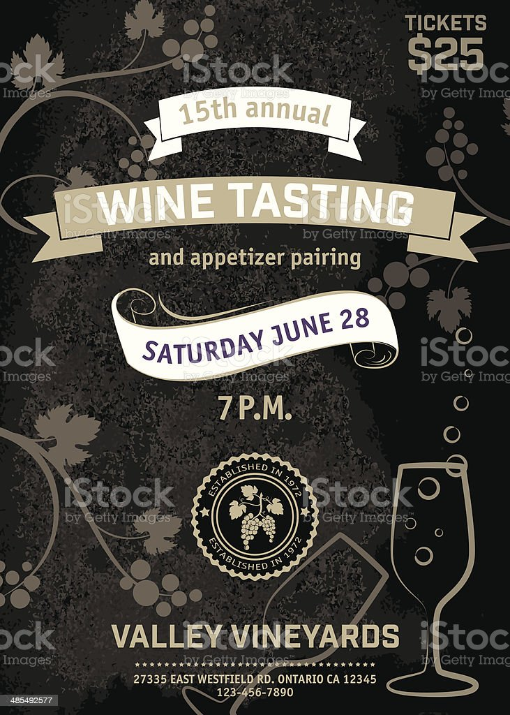 Wine Tasting Event Poster vector art illustration