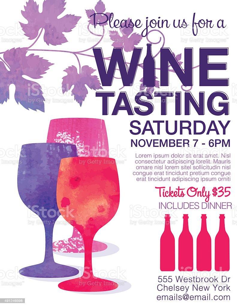 Wine Tasting Event Poster vector art illustration