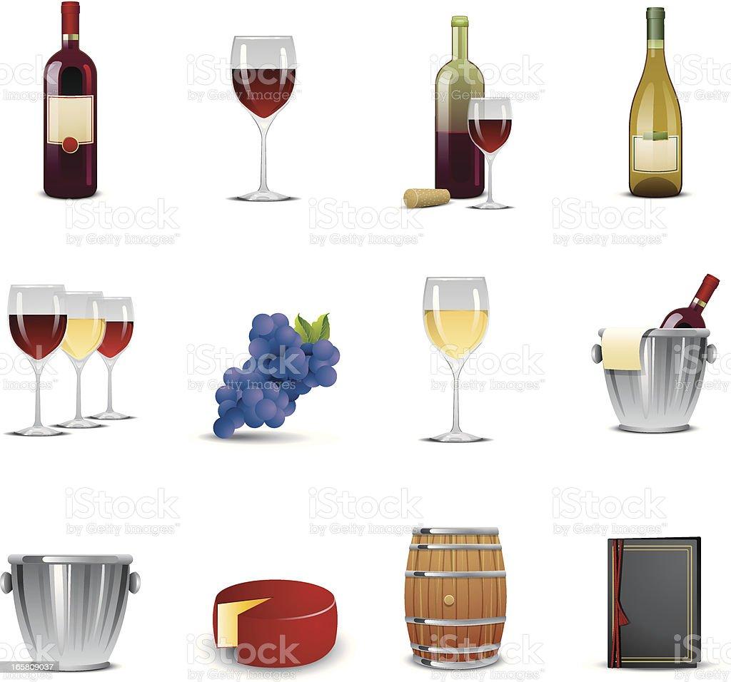 Wine Tasting Icons vector art illustration