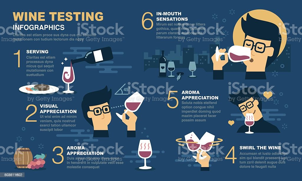 Wine tasting Infographic vector art illustration