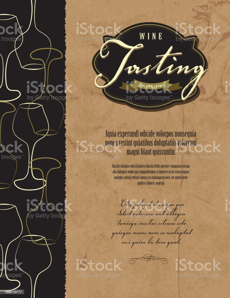 Wine tasting invitation or menu design template vector art illustration