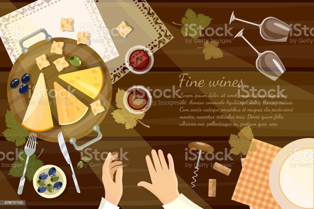 Wine tasting sommelier top view wine bottle and grapes vector art illustration