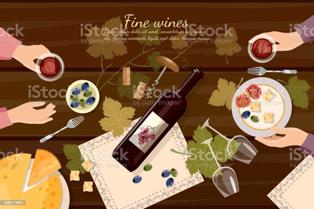 Wine tasting top view wine bottle and grapes vector art illustration