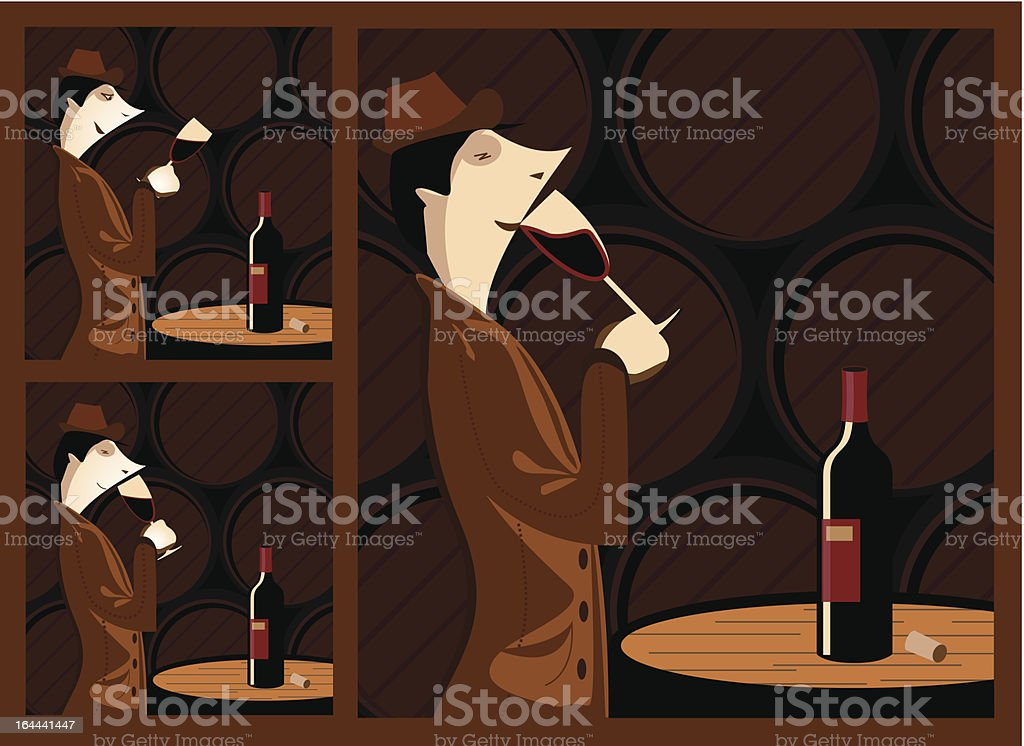 Wine tasting vector art illustration