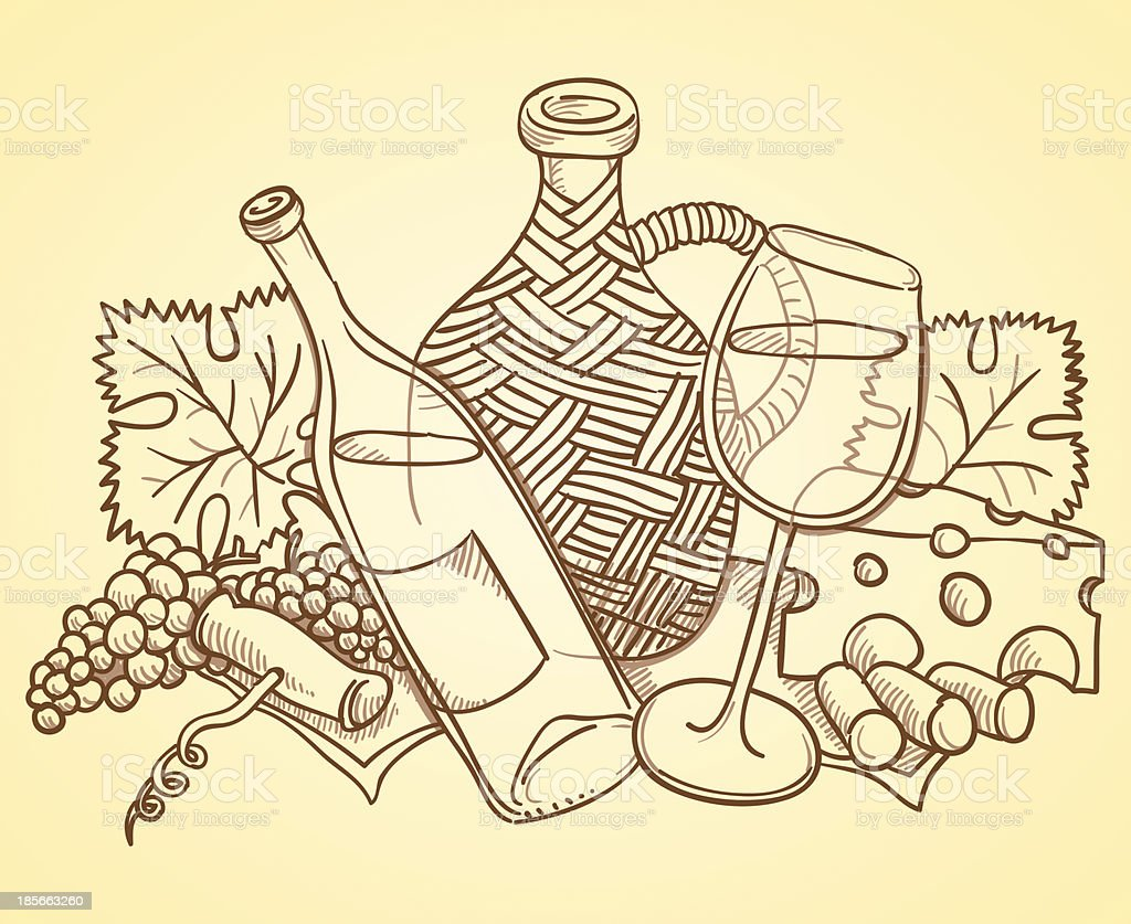 Wine Themed Drawing vector art illustration