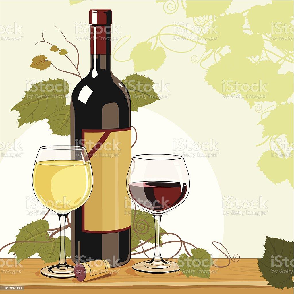 Wine Time vector art illustration