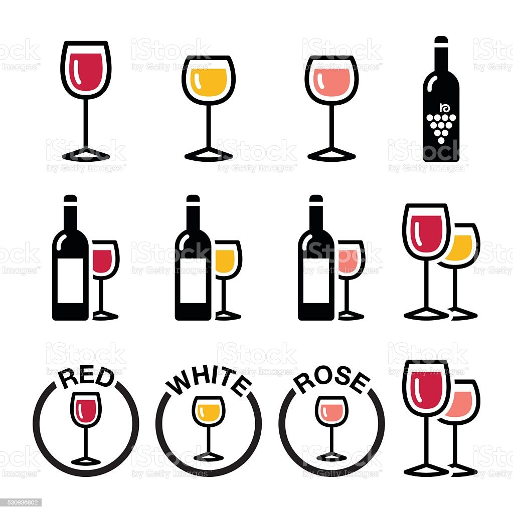 Wine types - red, white, rose icons set vector art illustration