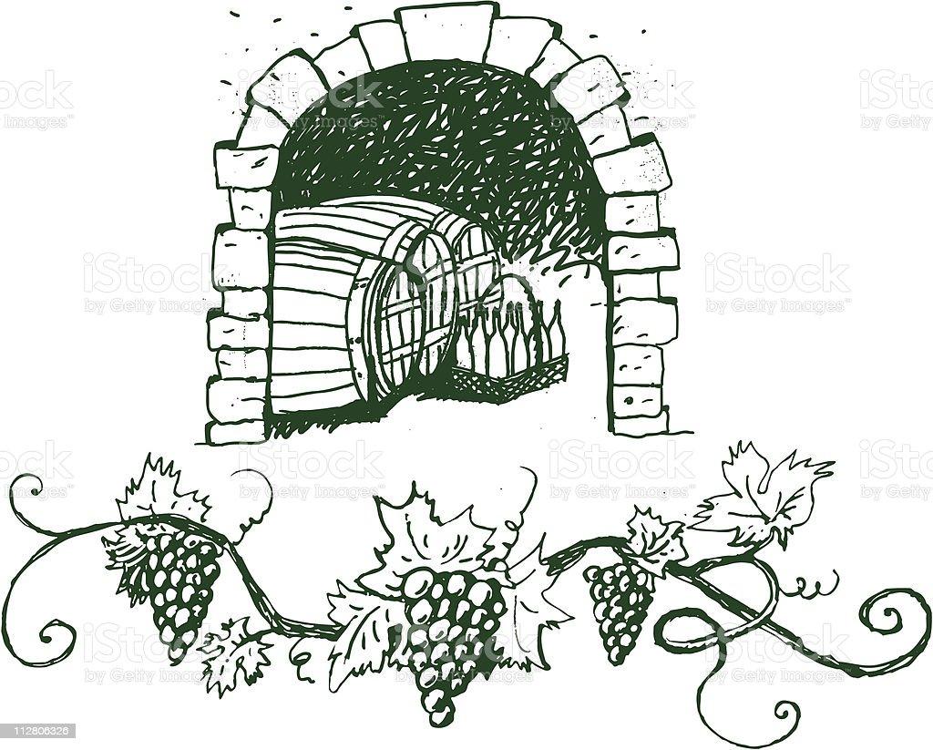 Wine Vault vector art illustration