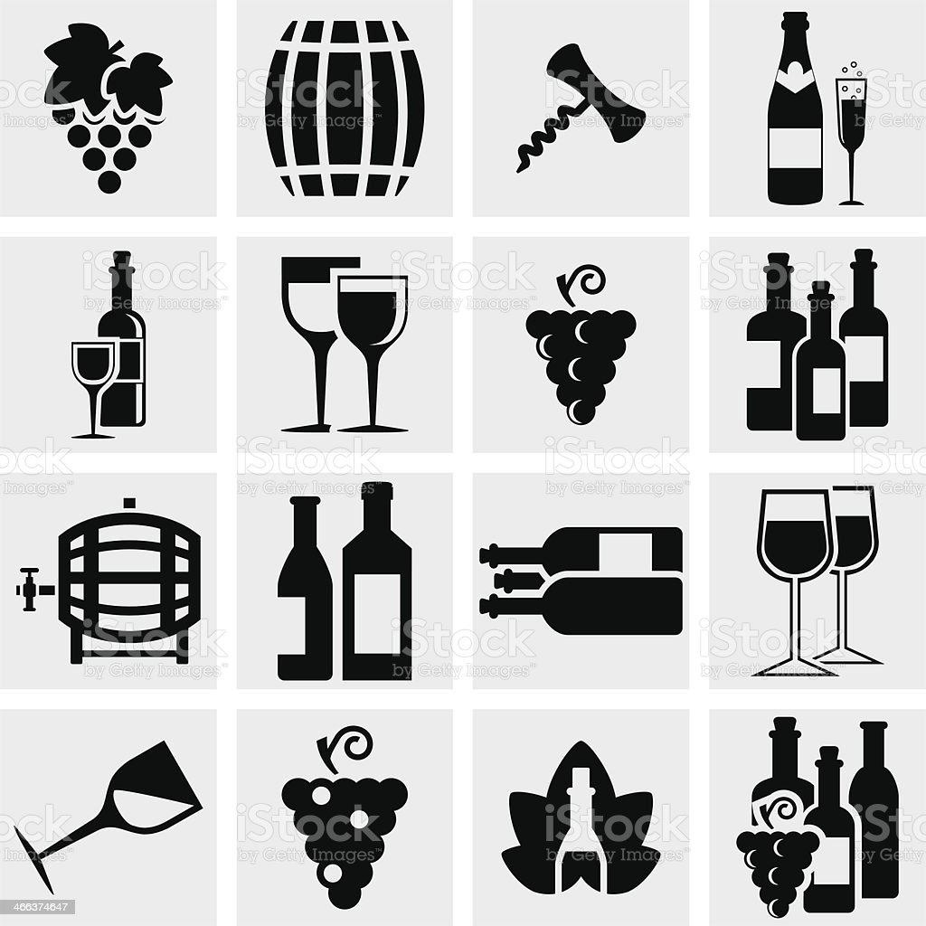 Wine vector icons set on gray vector art illustration