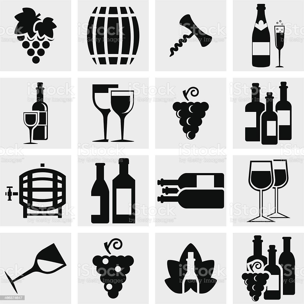 Wine vector icons set on gray vector art illustration