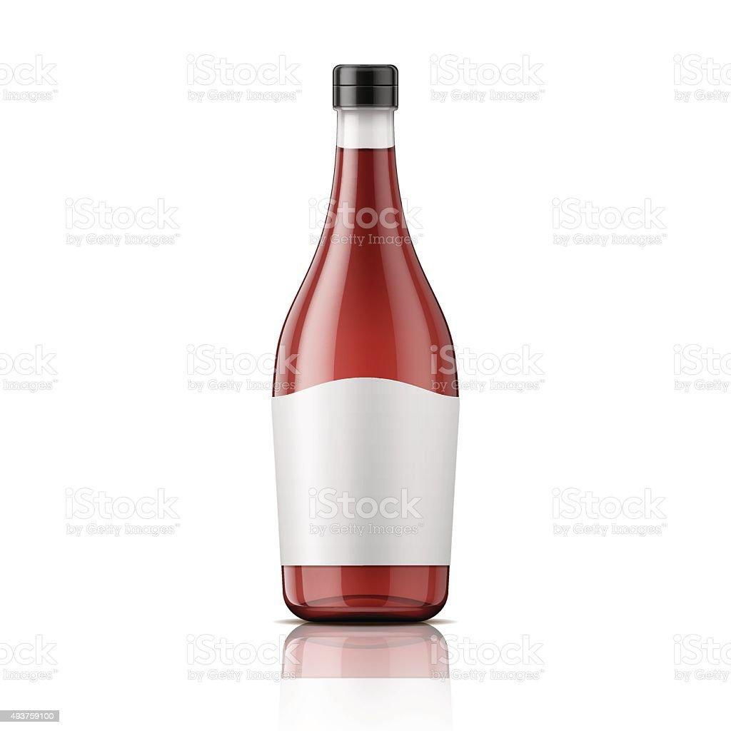 Wine vinegar bottle with cap and label vector art illustration
