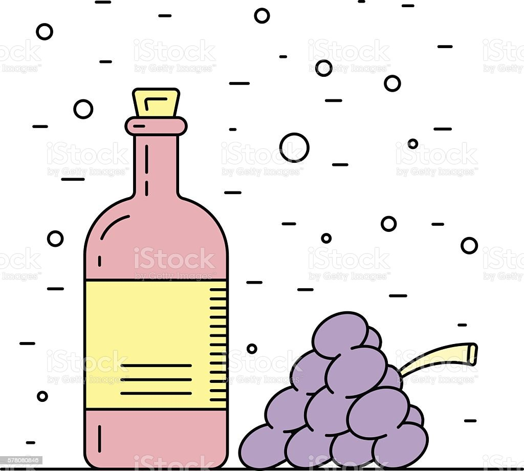wine vinegar sauce vector art illustration