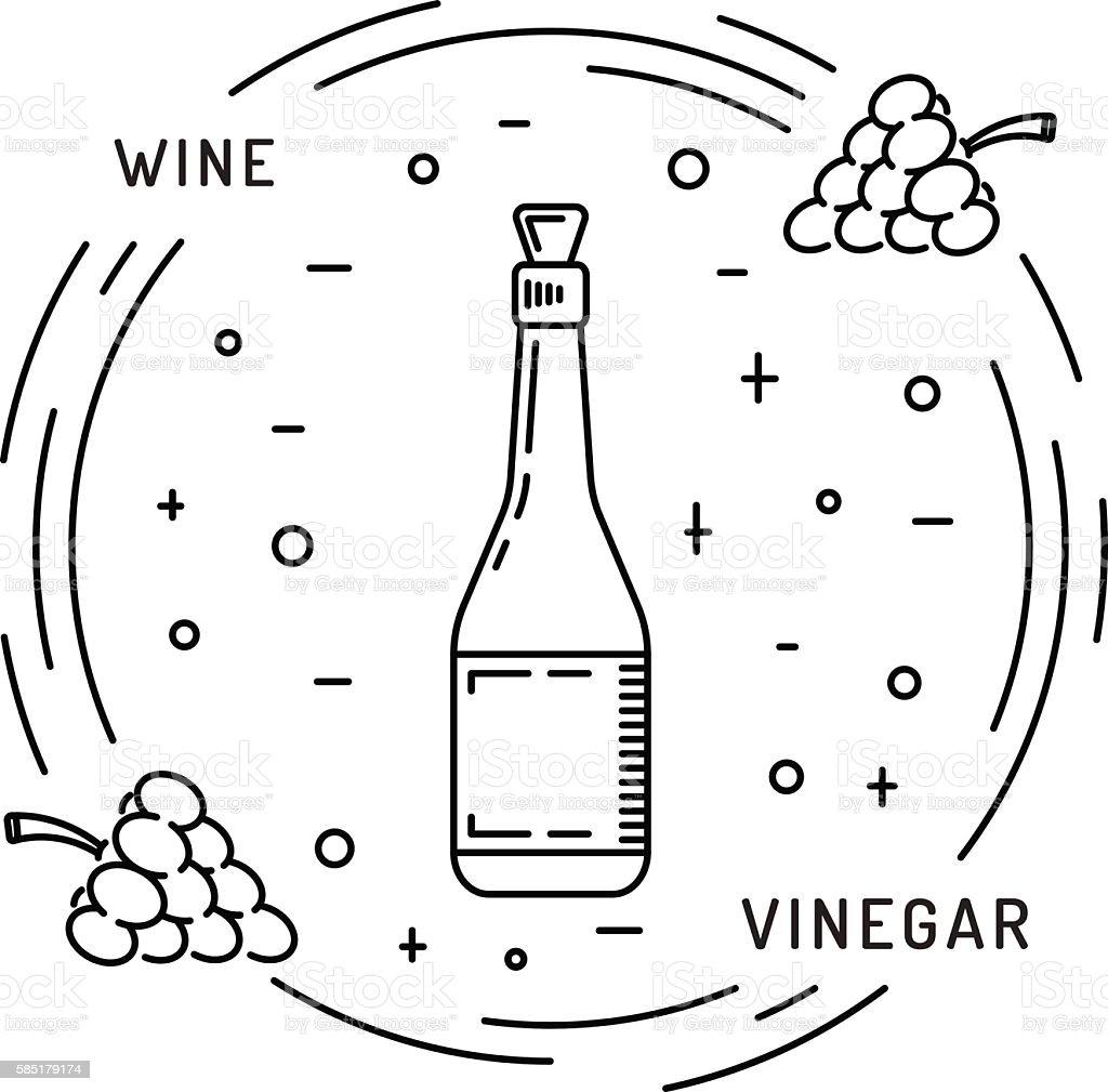 wine vinegar sauce vector art illustration