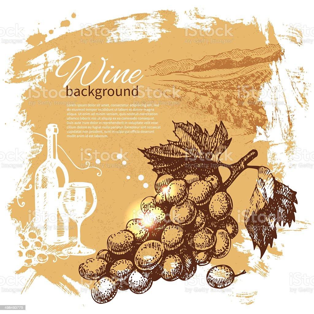 Wine vintage background vector art illustration
