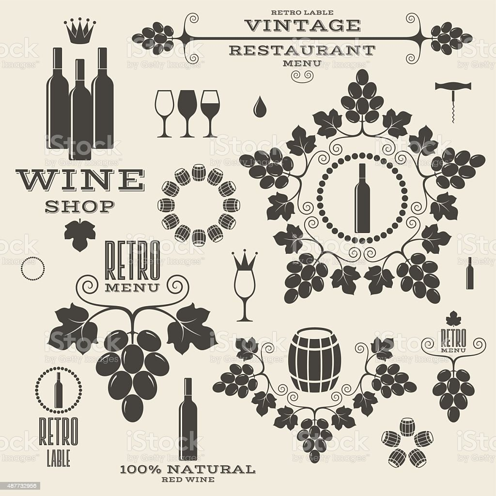 Wine. Vintage. Isolated labels and icons vector art illustration