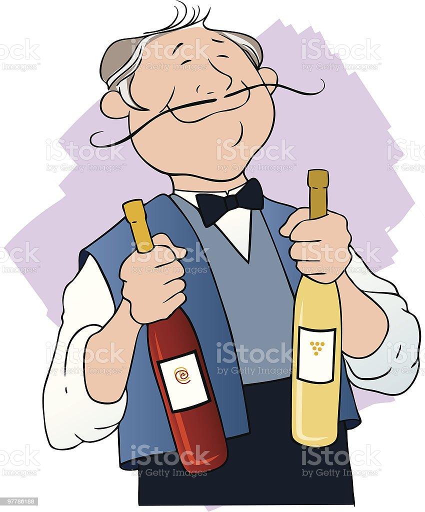 Wine Waiter royalty-free stock vector art