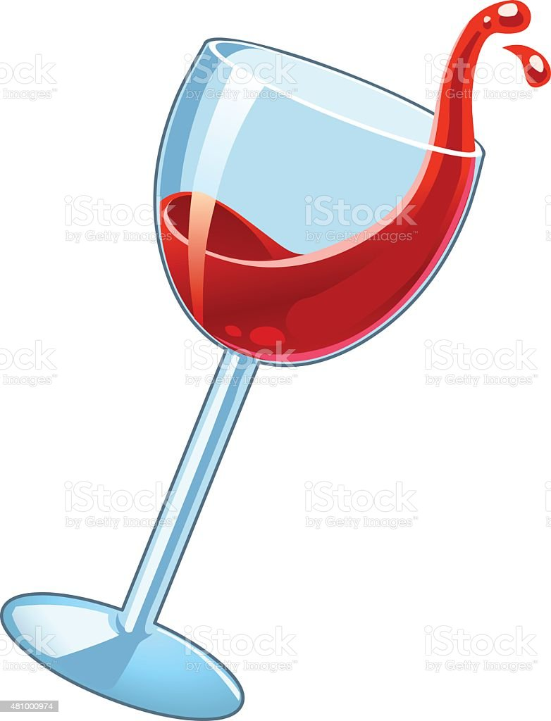 Wineglass with red wine. vector art illustration