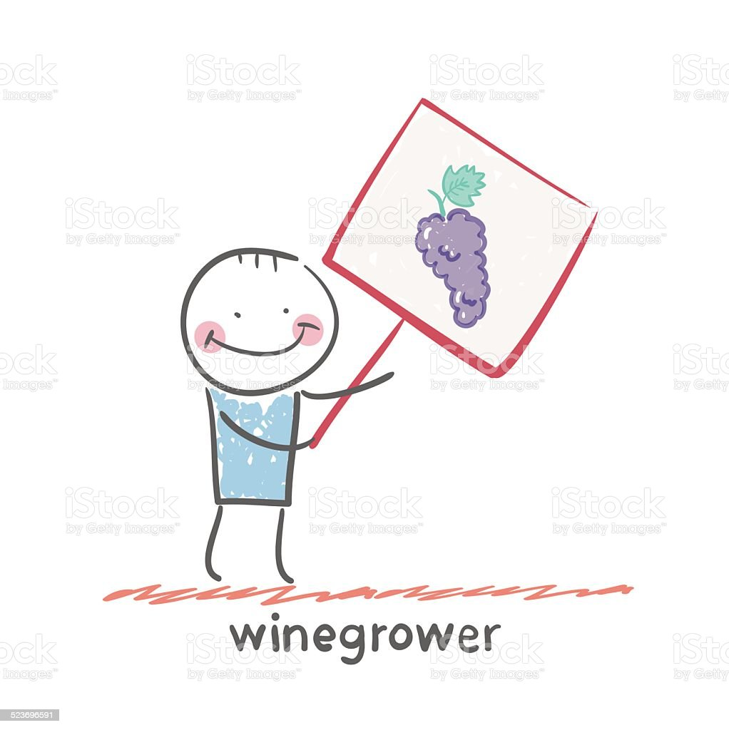 winegrower holds a banner with grapes vector art illustration