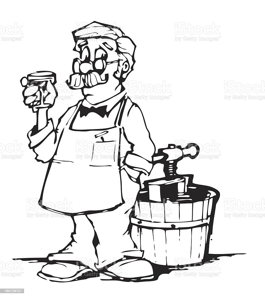 Winemaker vector art illustration
