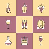 Winemaking icons on colorful square