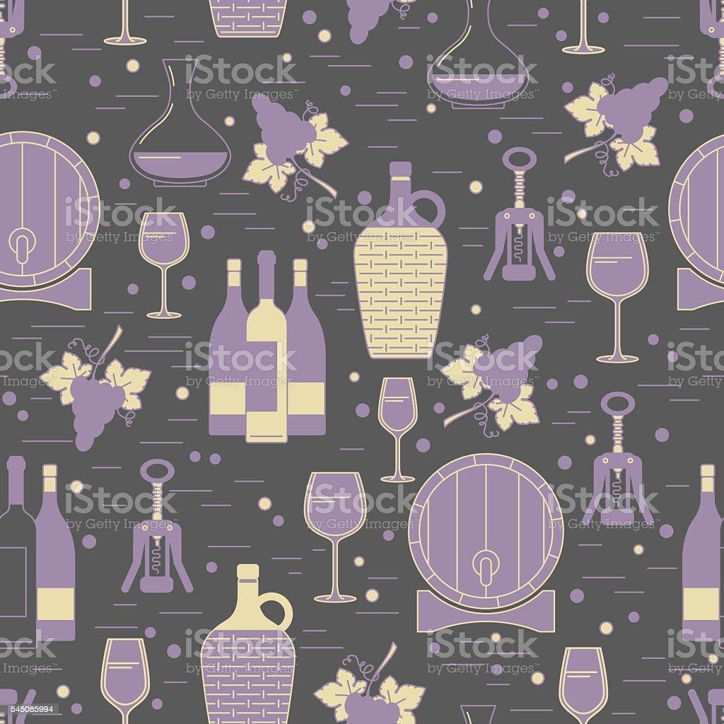 Winemaking seamless pattern on grey background vector art illustration