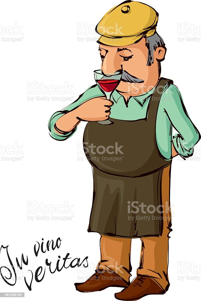 winemaster  smelling red wine vector art illustration