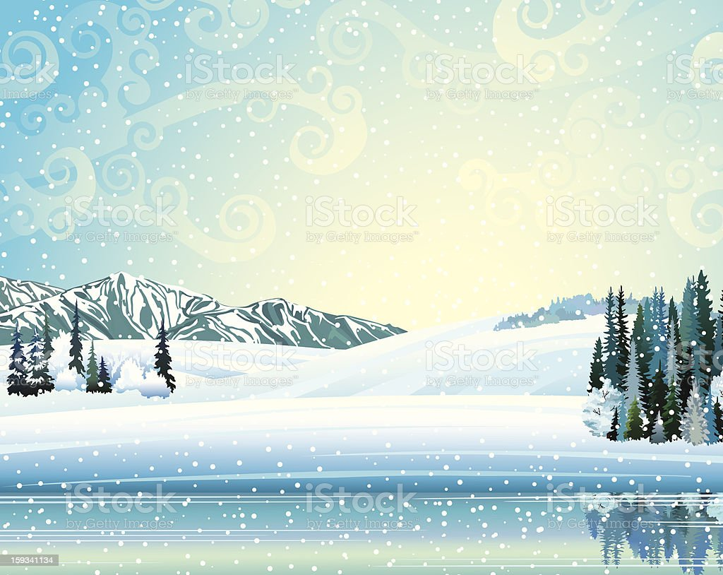 Winer landscape with forest and lake. royalty-free stock vector art