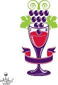 Winery award theme vector illustration. Stylized half full glass