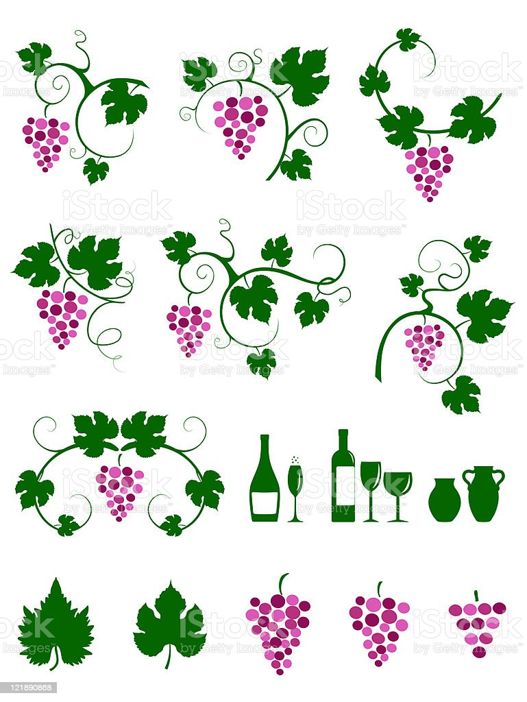 Winery design object silhouettes. royalty-free stock vector art