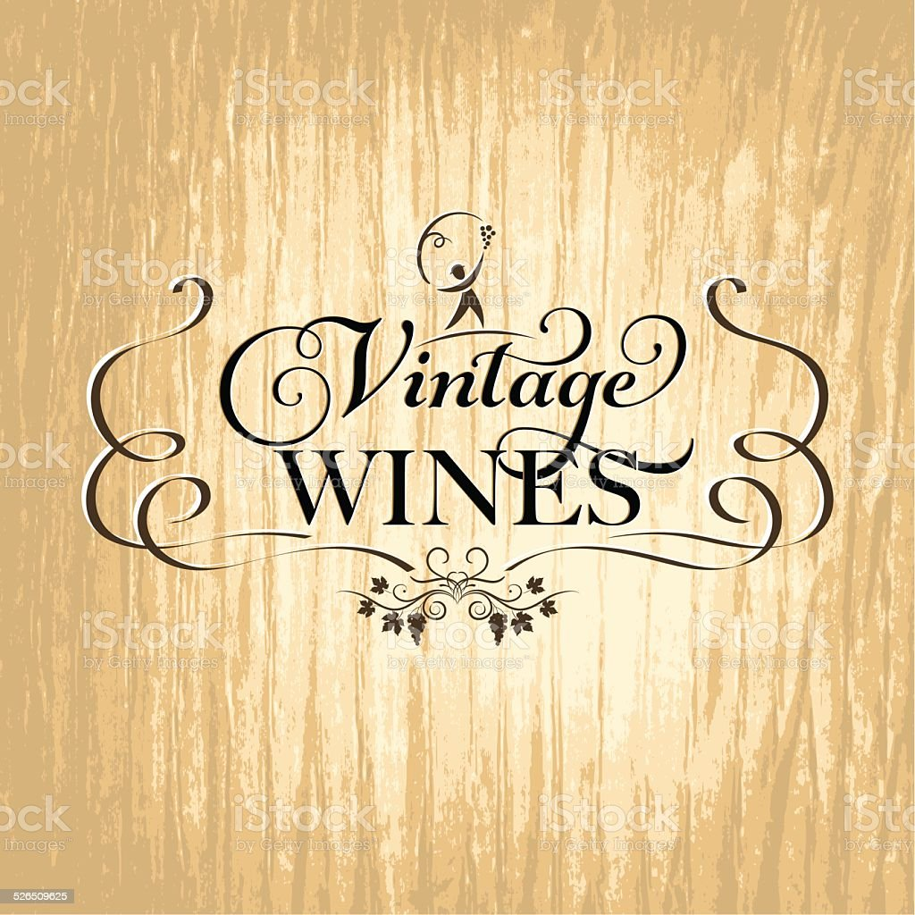 Winery Grapes Sign On Wood - Golden vector art illustration