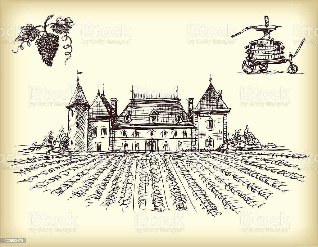Winery Items With A Vineyard On Sepia vector art illustration