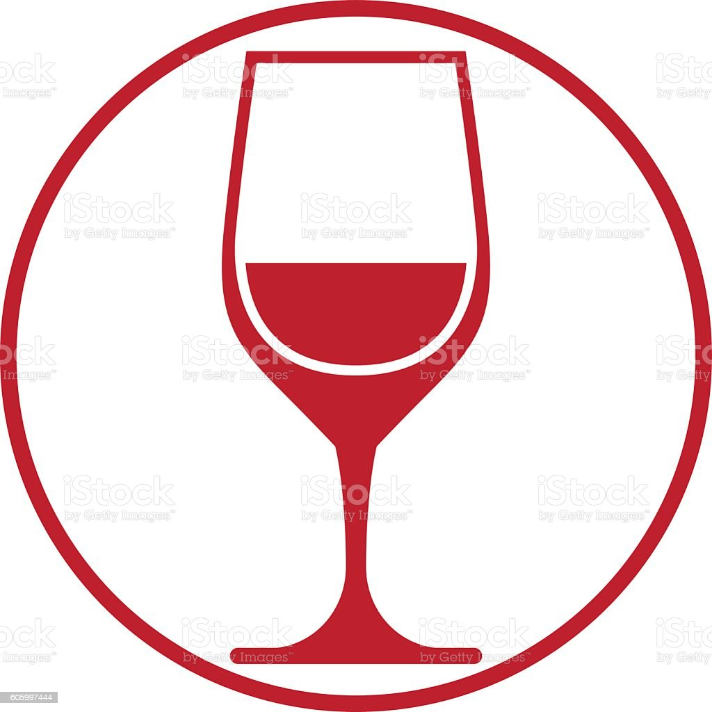 Winery theme, classic wine goblet isolated on white. vector art illustration