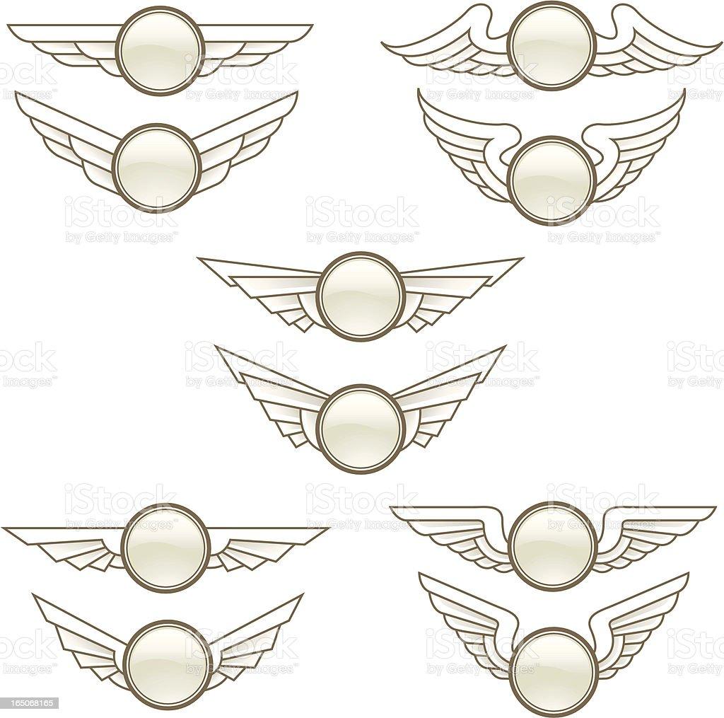 wing buttons vector art illustration