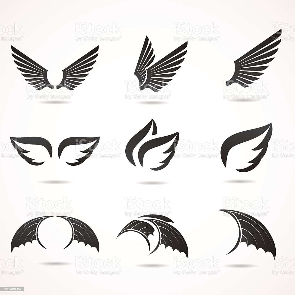 Wing icon set. vector art illustration