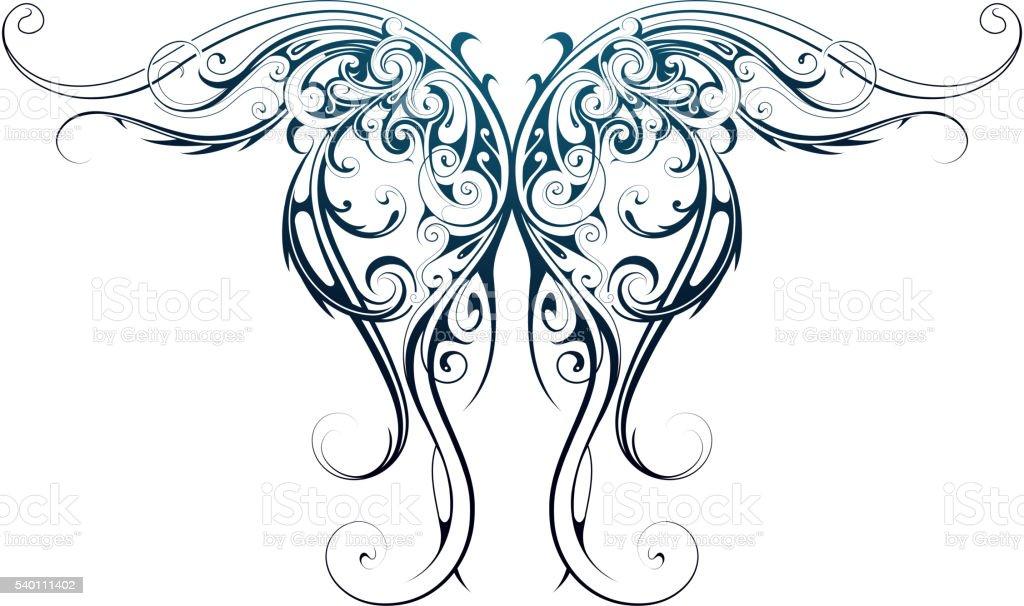 Wing shape tattoo vector art illustration