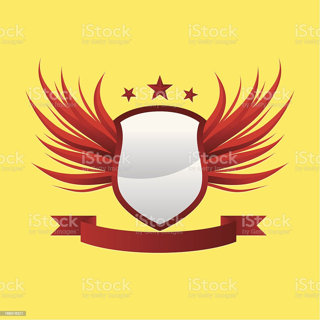 Wing Shield Ribbon vector art illustration