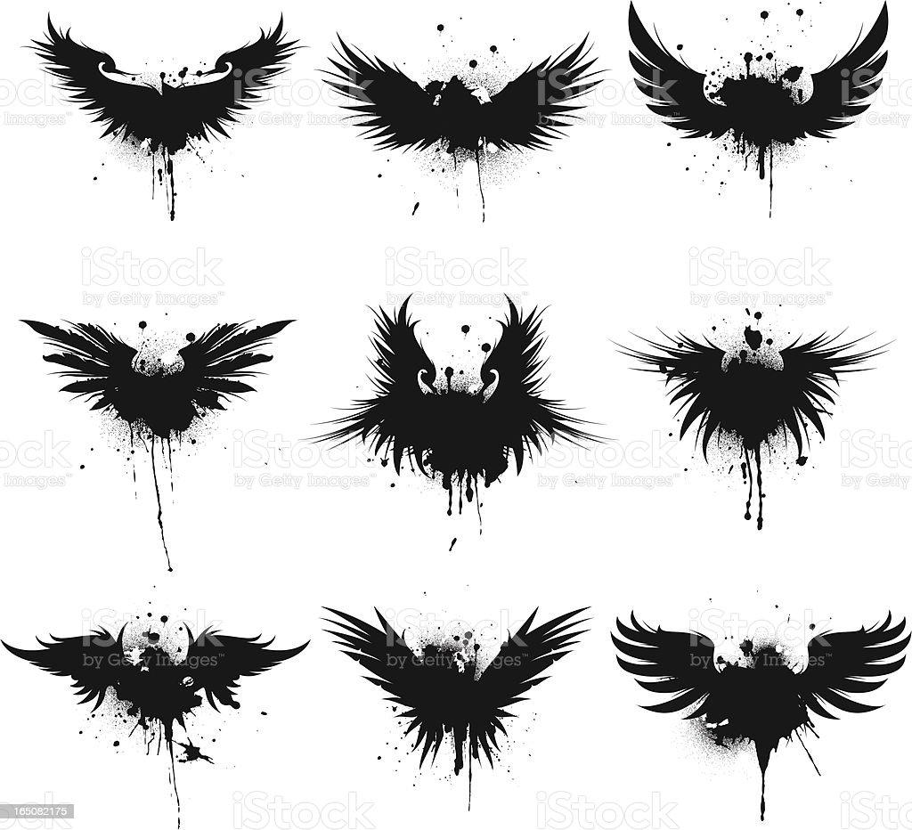 wing splatter vector art illustration