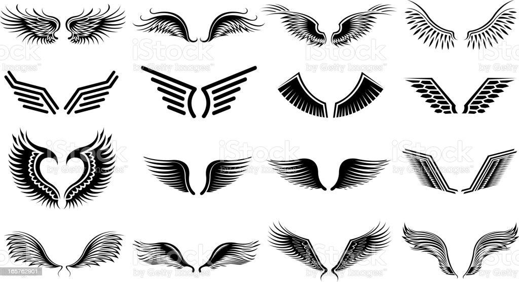 wing symbols vector art illustration