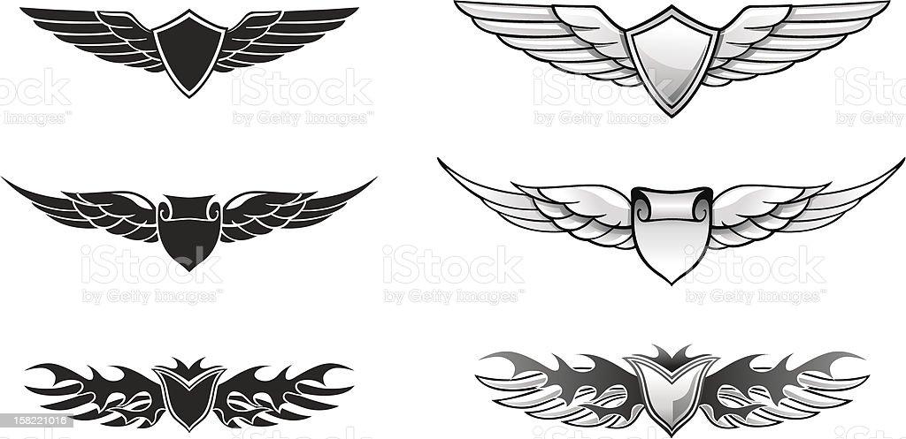 Winged Awards Set vector art illustration