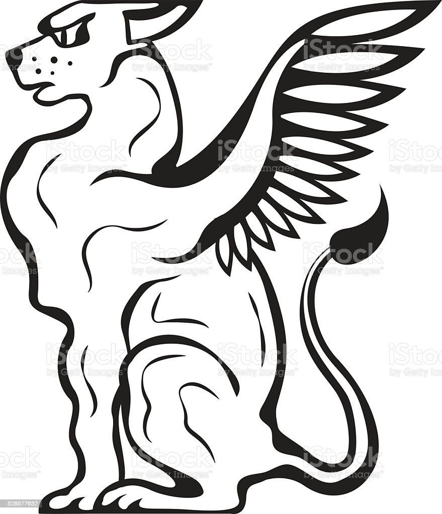Winged Cat creature vector art illustration