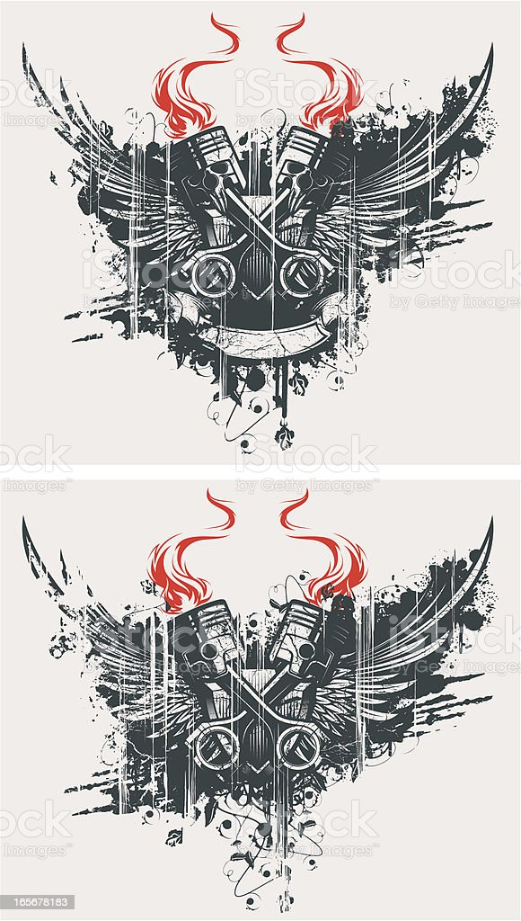 winged cross pistons vector art illustration